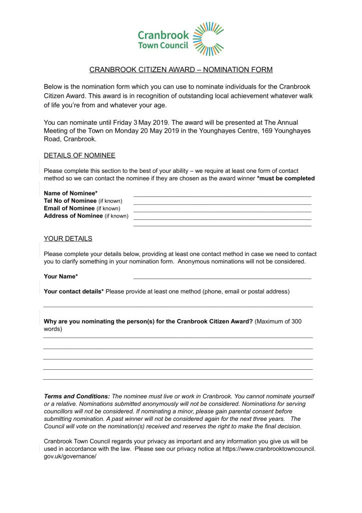 Nomination Form for the Cranbrook Citizen Award 2019