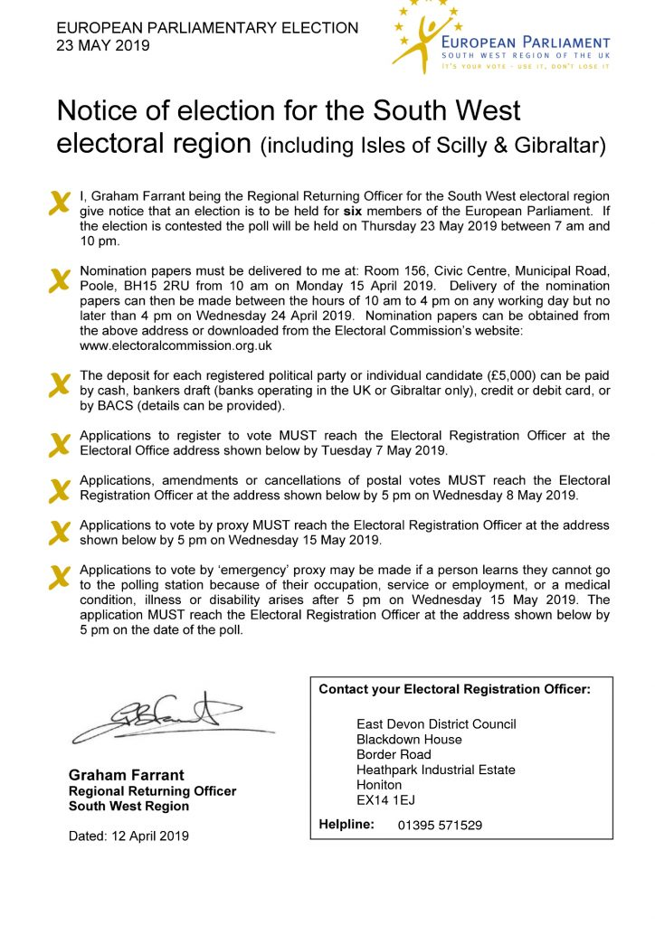 Notice of European Parliamentary Election
