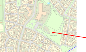 map showing location of St Martins play area